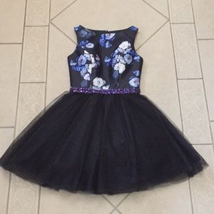 Mon Cheri floral black and purple cocktail dress